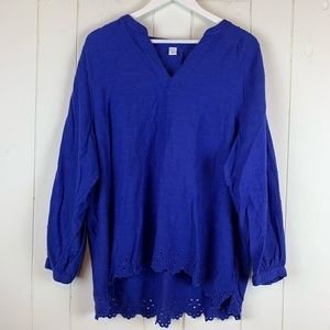 Old Navy Blouse XL Blue Cutouts Textured